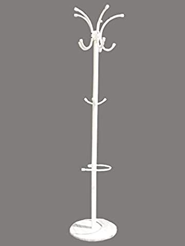 Hat Coat Umbrella Stand Clothes Storage Rack Holder Marble Base (Pearl White)