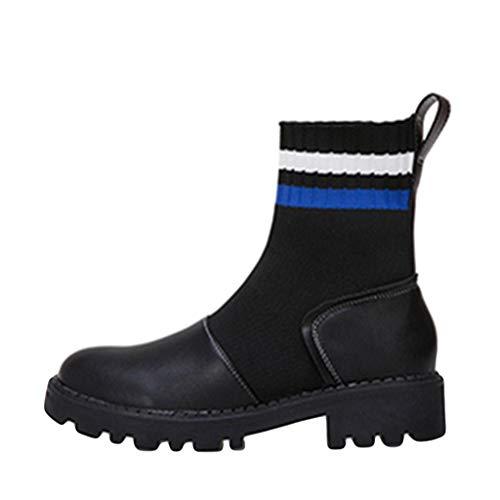 TTLOVE Damen Winter Warme Stiefeletten,Frauen Knöchellangen Streifen Gestrickte Wolle Runde Slip On Stiefel Bequem Socken Booties Elastische Stiefel Worker Boots(Blau,36 EU)