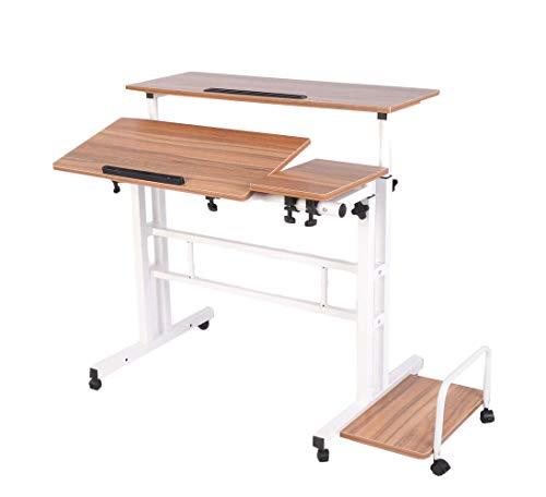 Lacyan regolabile in altezza piedi scrivania multifunzionale scrivania con il mouse, with cpu holder ancient oak