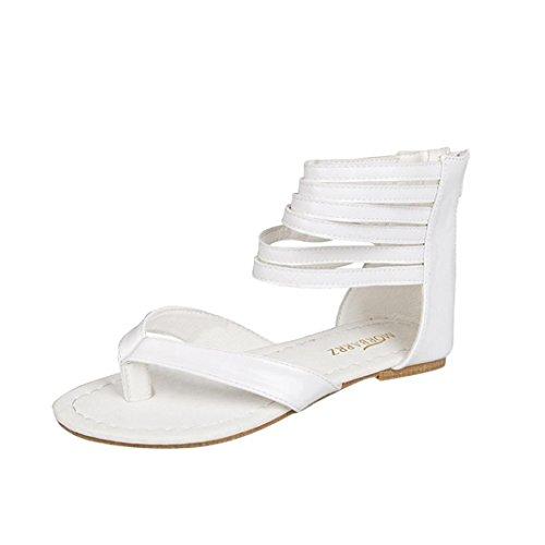 Gladiator T-strap Flachen Sandalen (Damen Sandalen Ronamick Frauen Reißverschluss Rom Riemchen Gladiator Low Flachen Flip Flops Strand Sandalen Schuhe (40, Weiß))
