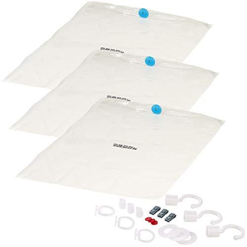 PEARL Kleidersäcke: 3er-Set Vakuum-Beutel, zur Saugkompression, Bügelhaken, 70 x 100 cm (Vakuumbeutel mit Kleiderhaken)