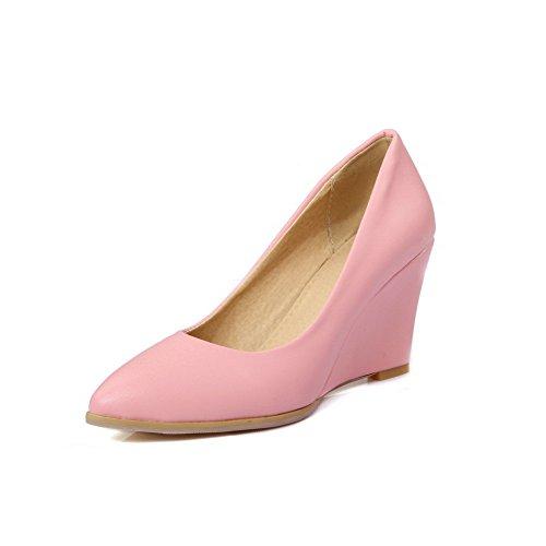 VogueZone009 Femme Tire à Talon Haut Pu Cuir Couleur Unie Fermeture D'Orteil Pointu Chaussures Légeres Rose