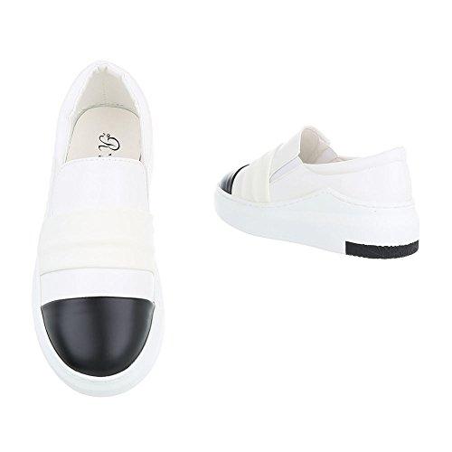Low-Top Sneaker Damenschuhe Low-Top Moderne Ital-Design Freizeitschuhe Weiß Schwarz