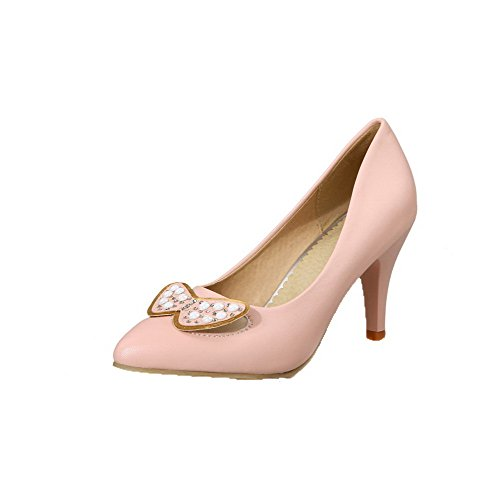 voguezone009-womens-closed-pointed-toe-high-heels-soft-material-solid-pull-on-pumps-shoes-pink-39