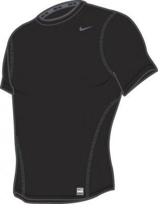 NIKE Pro Core Tight Crew Tee-shirt Manches Courtes pour Enfants, Noir, XL