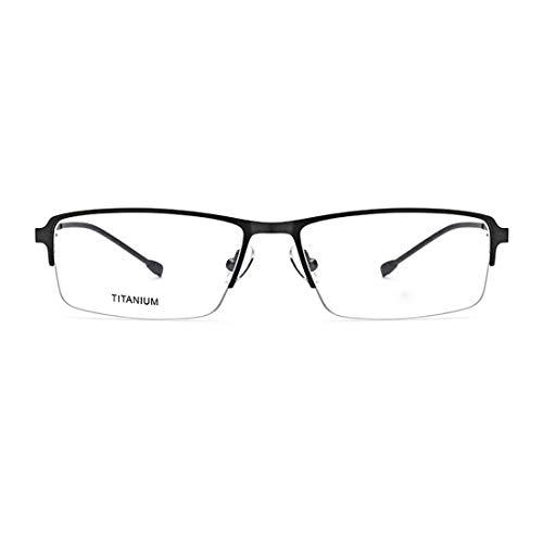 Easy Go Shopping Leichte Titanlegierungsacetatfaser-halbrandlose quadratische Form Flexible Geschäfts-Brillengestell-Brillen mit klarer Linse. Sonnenbrillen und Flacher Spiegel (Farbe : Schwarz)