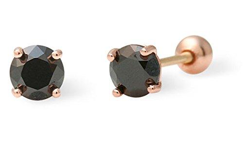82b681b641b7 galaxyjewelry CZ BLACK aretes de perno de oro rosa 14K pendientes