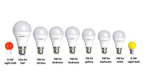 CROMPTON LED bulb COMBO for home(Includes 14W for hall)-9 pcs(Ideal for 2BHK)  available at amazon for Rs.1239