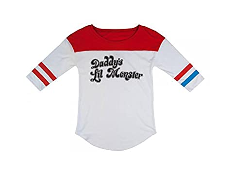 Official DC Comics Suicide Squad Harley Quinn Daddy's Lil Monster Women Baseball T Shirt White Large - UK 12
