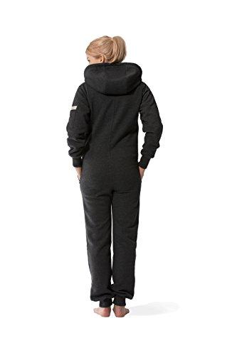 JUMPSTER Jumpsuit EXQUISITE Damen & Herren Overall, extra weicher langer unisex Onesie mit Kapuze MADE IN EU (slim / regular) Schwarz Meliert