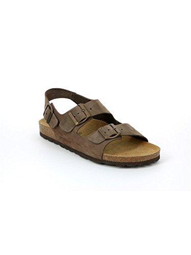 Grünland ROBI SB2003 cuir sandales hommes brun foncé nubuck sangles Birk Marron