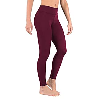 DeepTwist Womens Yoga Leggings Tummy Control Fitness Gym Running Tights Flexible Workout Sports Pants with Wide Waistband Wine Red, UK-DT4002-Wine Red-M
