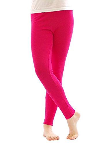 Thermo Leggings leggins Hose lang aus Baumwolle Fleece warm dick weich pink M