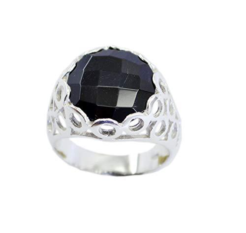 riyo Edelstein 925er Sterlingsilber klassischer natürlicher schwarzer Ring, schwarzer Onyx schwarzer Edelstein-Silberring