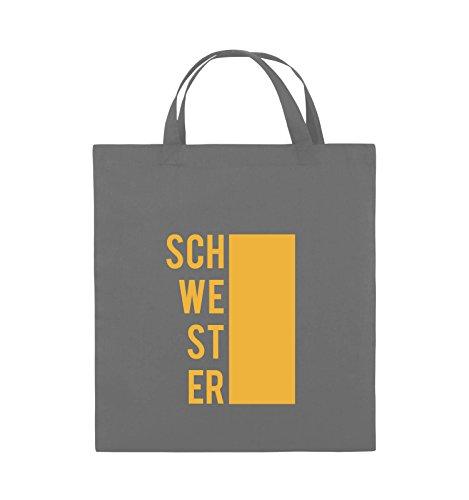 Comedy Bags - SCHWESTER - BLOCK - Jutebeutel - kurze Henkel - 38x42cm - Farbe: Schwarz / Pink Dunkelgrau / Gelb