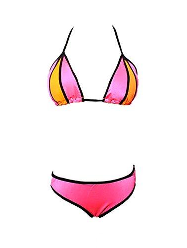 VLUNT Sexy Hot Damen Bikini Sets Bademode Strandmode Badeanzug Push Up Rose Red