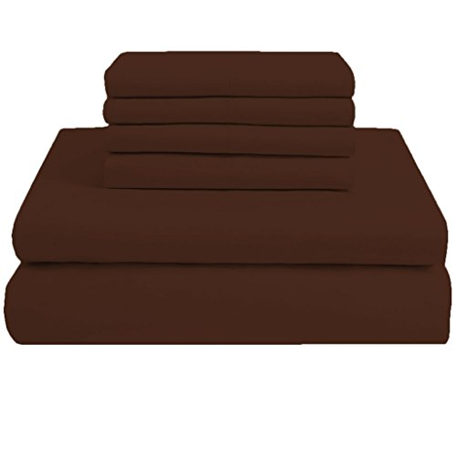 Solide Ägyptischer Baumwolle Blatt (Scala SCALABEDDING 71,12 cm Tiefe Tasche 100% ägyptische Baumwolle 6 Stück 800 Fäden King Size Solide Blatt Schokolade)