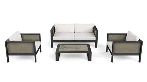 ARTELIA Gaia Luxus Loungemöbel Set - Aluminium und Rattan Premium Gartenmöbel Set für Terrasse, Garten und Wintergarten, Loungegruppe, Terrassenmöbel Atlas Collection grau/beige meliert