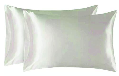HuntaDeal Seiden-Satin-Kissenbezüge Queen Standard für Gesichts-Schönheits-Haar-Gesundheit Gesichtspflege hypoallergen cremefarben - Home Health Care-queen