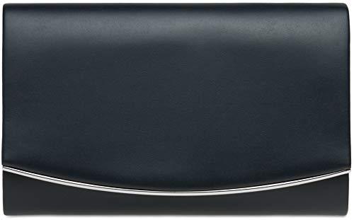 CASPAR TA414 Bolso de Mano Fiesta para Mujer/Clutch Elegante con Cadena Desmontable y Solapa Redonda, Color:azul oscuro;Tamaño:Talla Única
