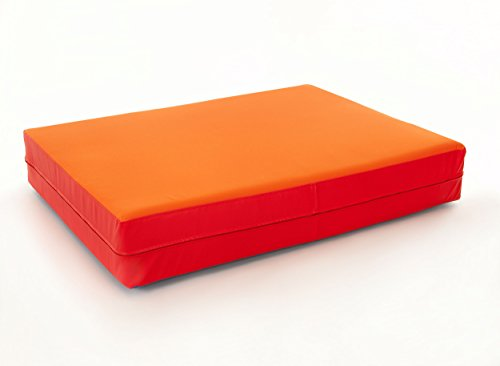 FLIXI Hüpfmatratze - ab 1 Jahre - Turn Matte für Kinder - Spiel Matratze zum Toben - Hüpfen - Balancieren Orange/Rot -