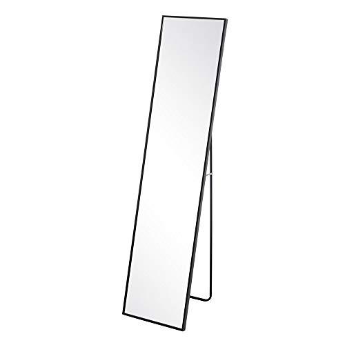 Espejo de pie de Aluminio Negro Minimalista para Dormitorio de 35 x 150 cm Factory - LOLAhome