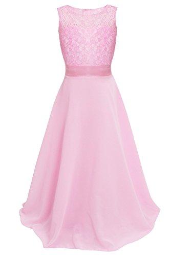 (Freebily Mädchen Kleid Festlich Blumenspitze Blumenmädchenkleid Elegant Prinzessin Kleid Hochzeit Kleid Partykleid Lang Gr. 104-164 Rosa 152)