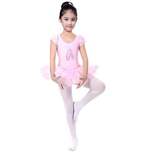 Byste bambini body manica corta danza balletto tutu pratica costume gonna a soffietto ragazza leotard vestito ginnastica abbigliamento dancewear (rosa, 3 anni)