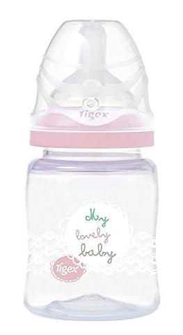 Tigex Biberon Col Large Intuition 1er Âge 150 ml Tétine 0-6 Mois Fille Lait Maternel et Eau