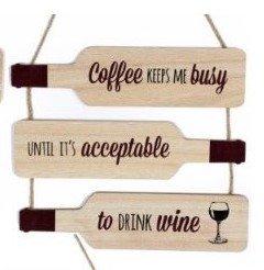 Holz Flasche Form Wein Zitat Türschild zum Aufhängen 30cm Home Love Laughter Kaffee coffee - Form Kaffee