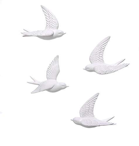 Wanddeko - Schwalben in 3D-Optik - Porzellan - Weiß - 4 Stück