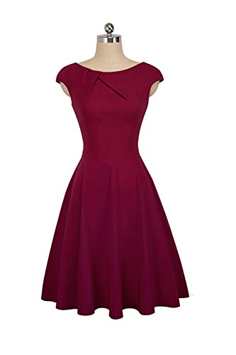 YACUN Donna Summer Swing In Maniche Corte Elegante Festa Vestito Wine