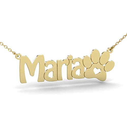 (Chereda Silber Name Halskette mit Pfote, Custom Name Halskette, Halskette, Katze Pfote Halskette, Dog Paw Halskette, Animal Halskette, Tatze Halskette)