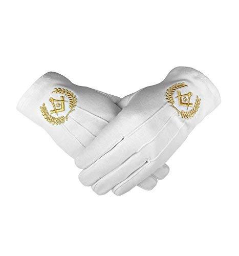 Emblème Maçonnique Blanc 100% Cotton Gants Place Compas & G Bt048