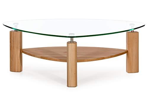 Alkove - Hayes - Moderner Couchtisch aus Massivholz mit Glasplatte, Kernbuche