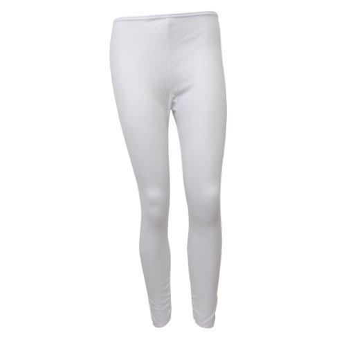 Damen Thermo Unterwäsche Lange Unterhose (Heat Trap Auswahl) (40-42) (Weiß)