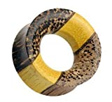 12mm Organic Triple Layered Wooden (Tewel Wood, Fruit Wood, and Coconut Wood) Saddle Fit Ear Plug / Tunnel