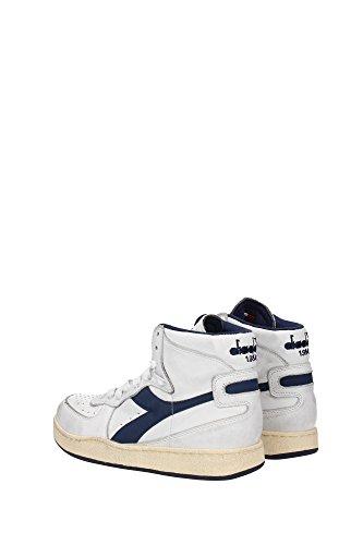 Diadora Heritage Hommes Haut Sneaker Mi Panier Utilisé 158569 Bianco-Nero