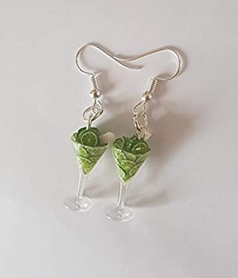 mojito boucle d oreille bijou gourmand verre de mojito citron vert cocktail chic fimo