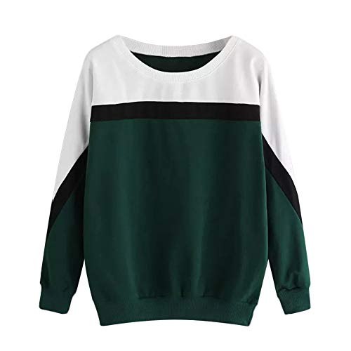 Geili Damen Damen Sweatshirt, Casual Farbblock Patchwork Rundhals Langarm Sweatshirt...