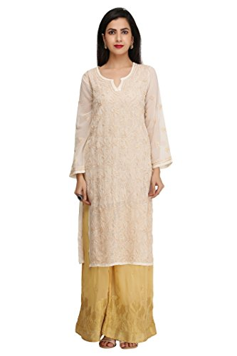 ADA Lucknow Chikan Handicraft Regular Wear Faux Georgette Kurti Kurtas A200586