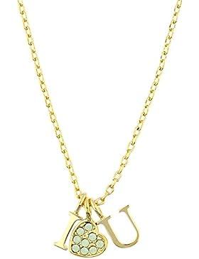 Guess Damen-Kette mit Anhänger KISS & LOVE Halskette Edelstahl teilvergoldet Kristall grün 40 cm-UBN61090