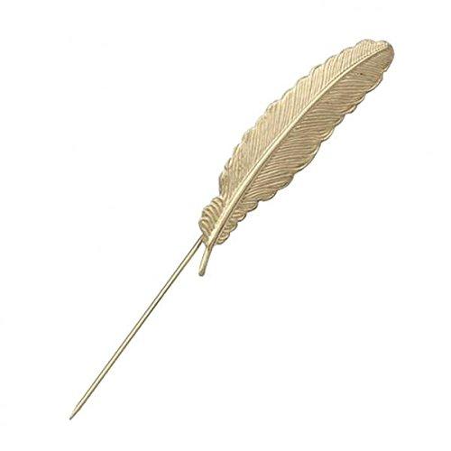 Federmuster Anstecknadel Brosche Ansteckblume Brooch Nadel Pins Gold