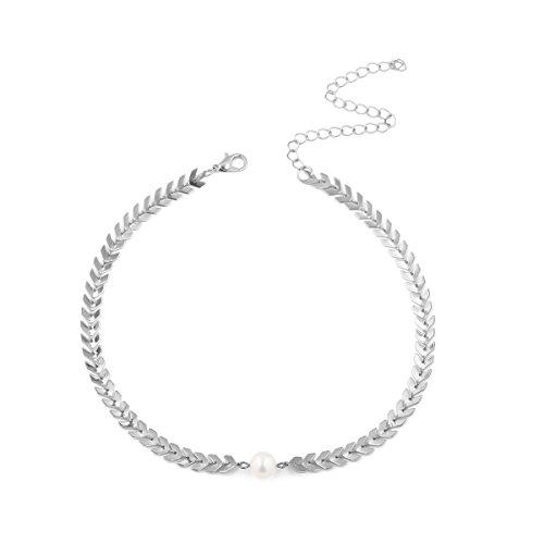 TAOtTAO Necklaces Mode Halskette Frauen Lange baumeln Halskette Schmuck Fisch Knochen Kette (Silber) -