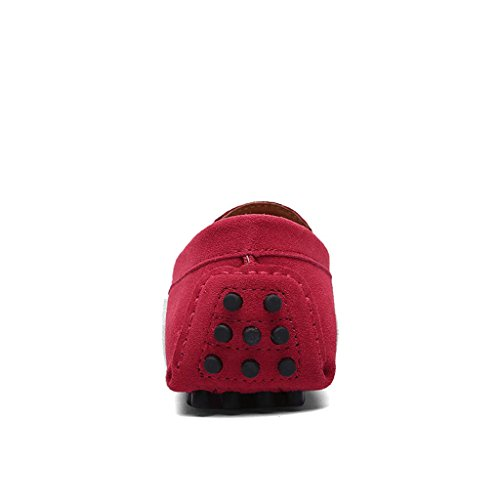 ZXCV Chaussures de plein air Chaussures de sport pour conduire la première couche de chaussures en cuir anti-velours matte en cuir ( Couleur : Rouge , taille : 38 ) Rouge