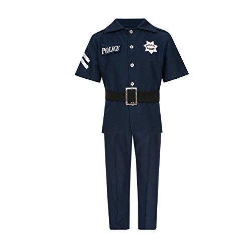 Kostümplanet Polizei-Kostüm für Kinder mit Polizei Mütze Blau Jungen Polizist Kostüm Größe 152 (Polizisten Kostüm Kinder)