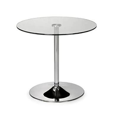 Julian Bowen Kudos Chrome and Glass Pedestal Dining Table - low-cost UK light shop.