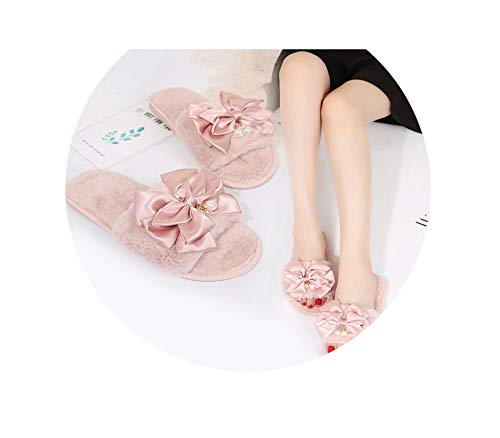 Women Bow Winter Fur Slipper Warm Solid Knot Plush Soft Slippers IndoorsFloor Bed Room Shoes Faux Slides Flip Flops,36 Butterfly Thong Sandal