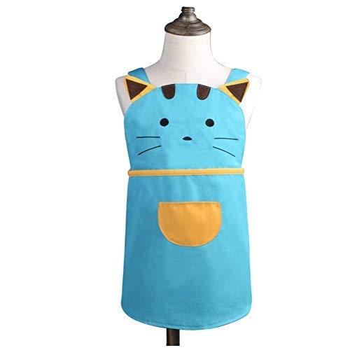 für Mädchen, Jungen, Kinder, Kleinkind, Cartoon-Katze, bestickt, Baumwolle, Kinderschürze, Kochschürze, Backschürze, für Kinder von 2 - 4 Jahren, Blau ()