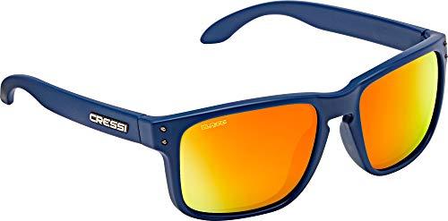 Cressi Unisex-Erwachsene Blaze Sport Sunglasses Polarised Hydrophobic Lenses with Hard Case, Blau Navi/Linsen Verspiegelte Orange, One Size